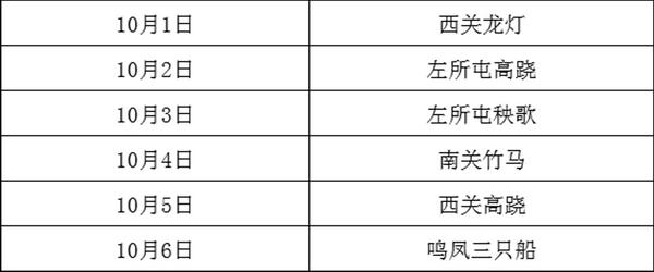 永宁镇国庆期间花会展演预告